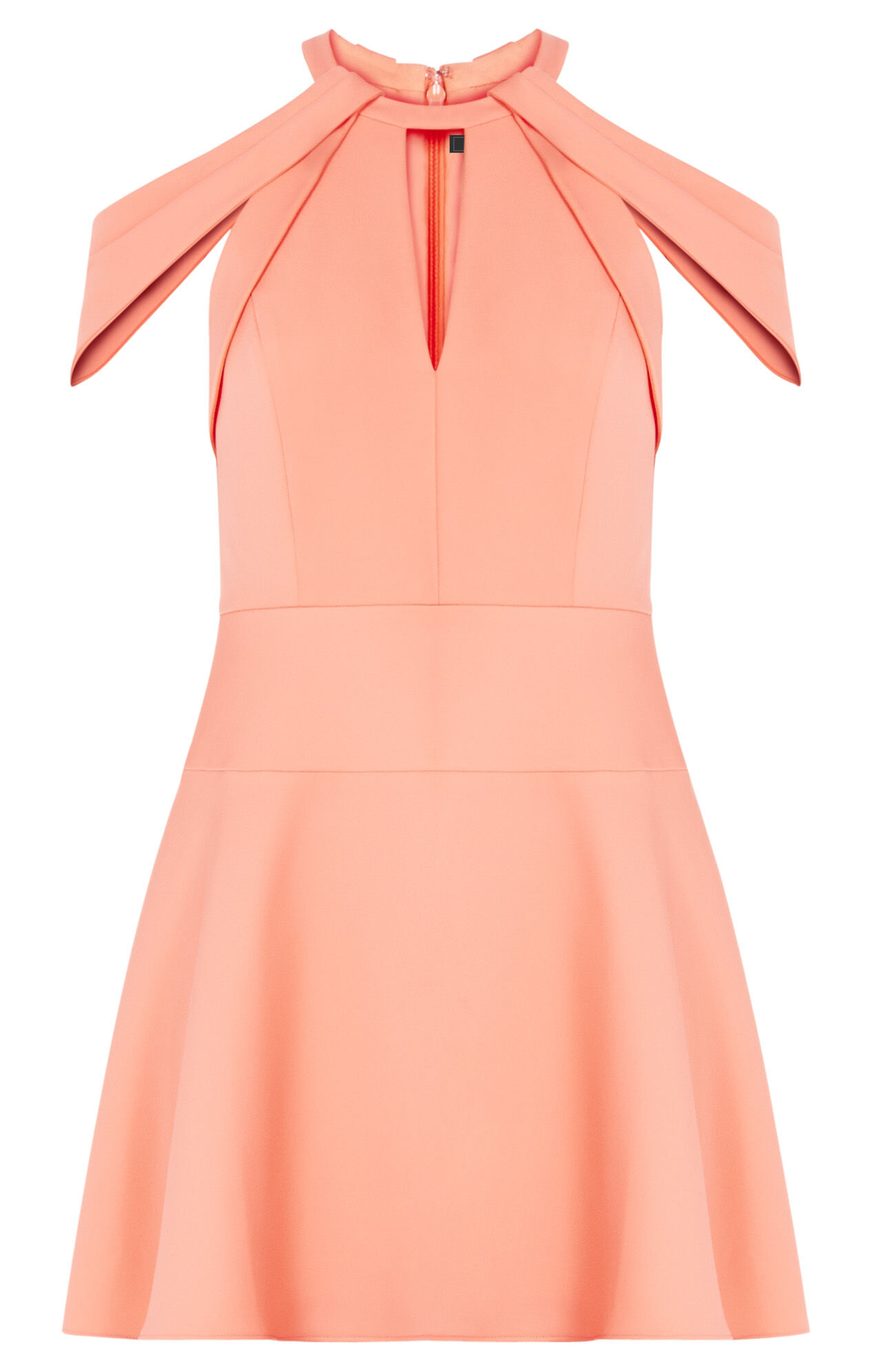 Salli Draped-Shoulder Fit-and-Flare Dress