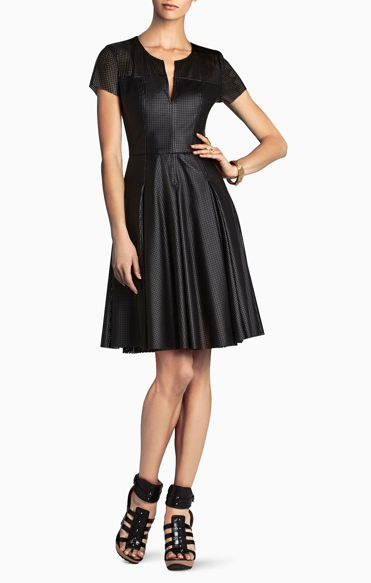Karlie Perforated Pleated Dress