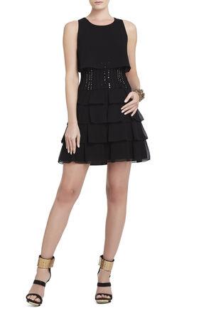 Maryna Beaded-Waist Ruffle Dress