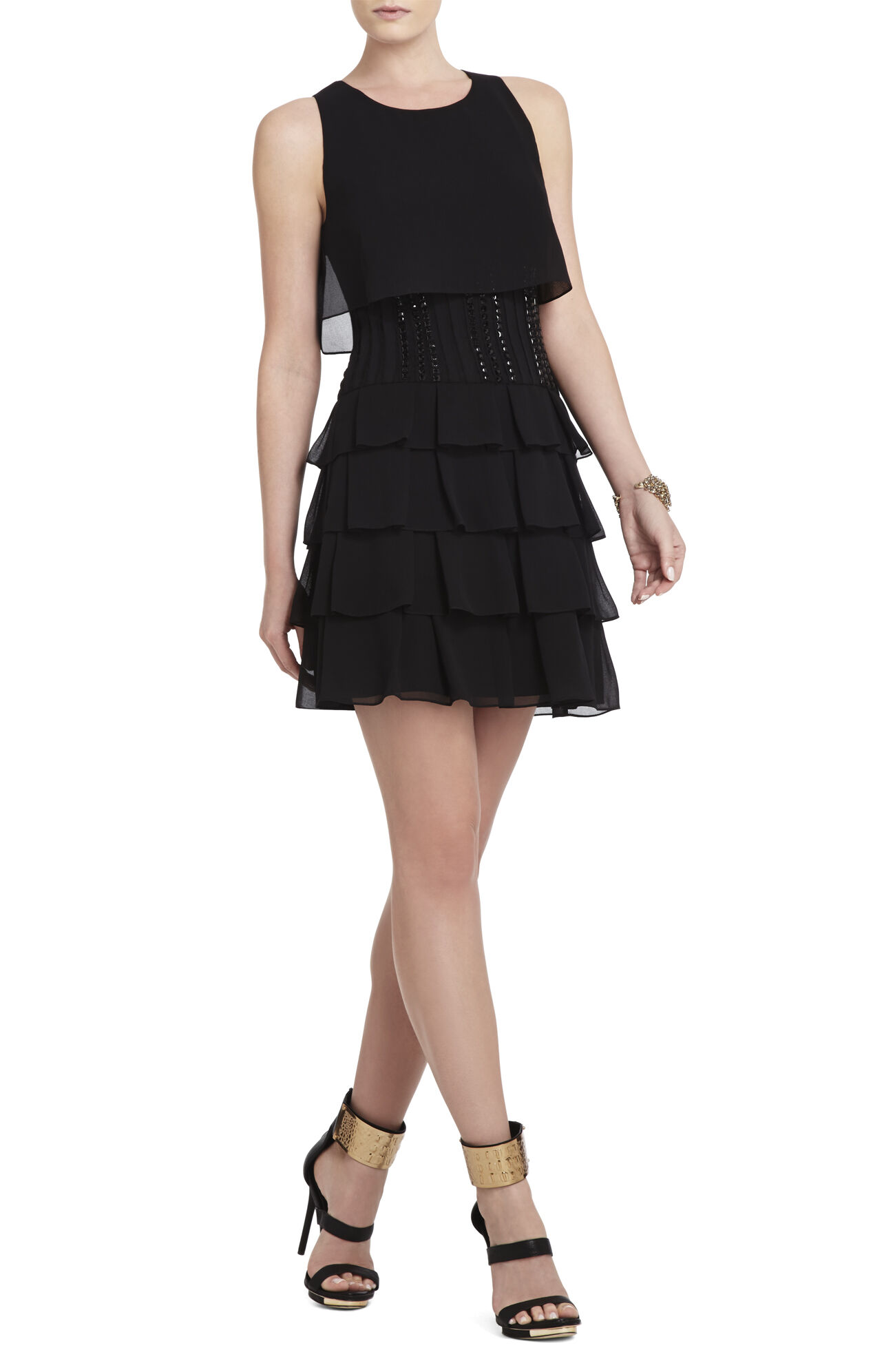 Maryna Beaded-Waist Ruffle Dress