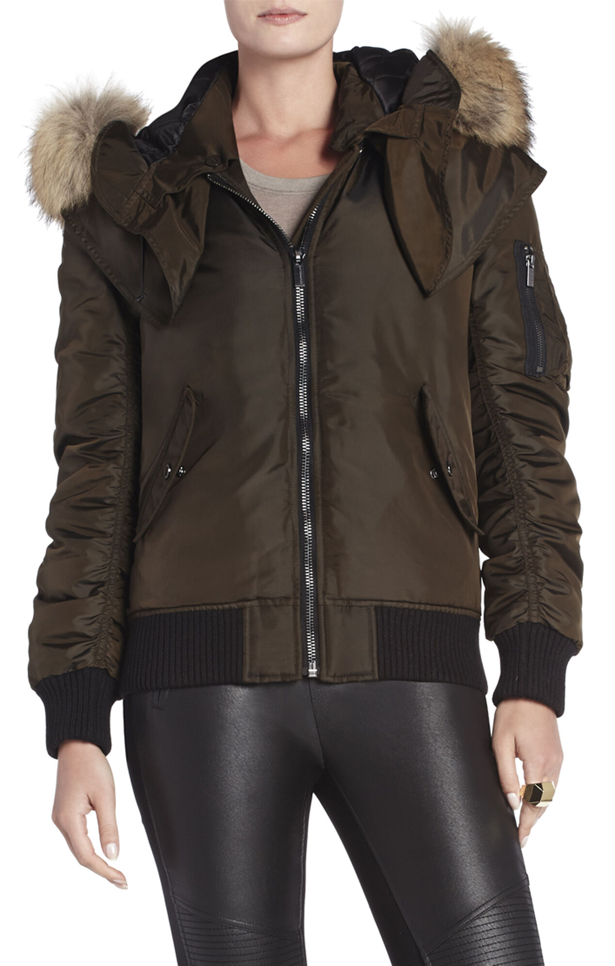 Chelsea Fur-Trimmed Bomber Jacket