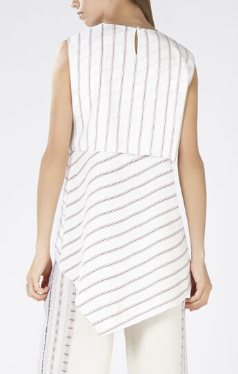 Eleanore Printed Stripe-Blocked Top