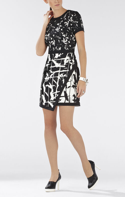 Raquel Print-Blocked Asymmetrical Skirt Dress