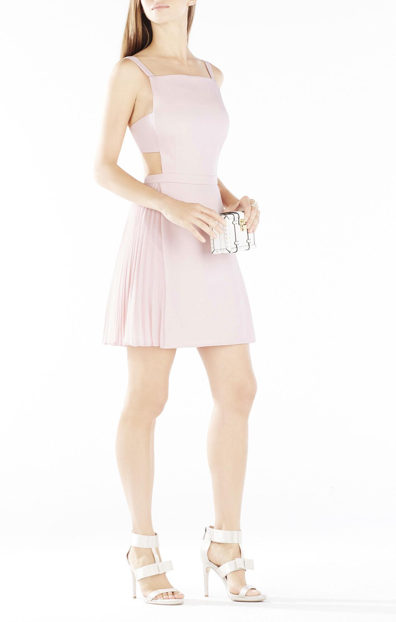 Brielle Open-Back Side-Pleated Dress