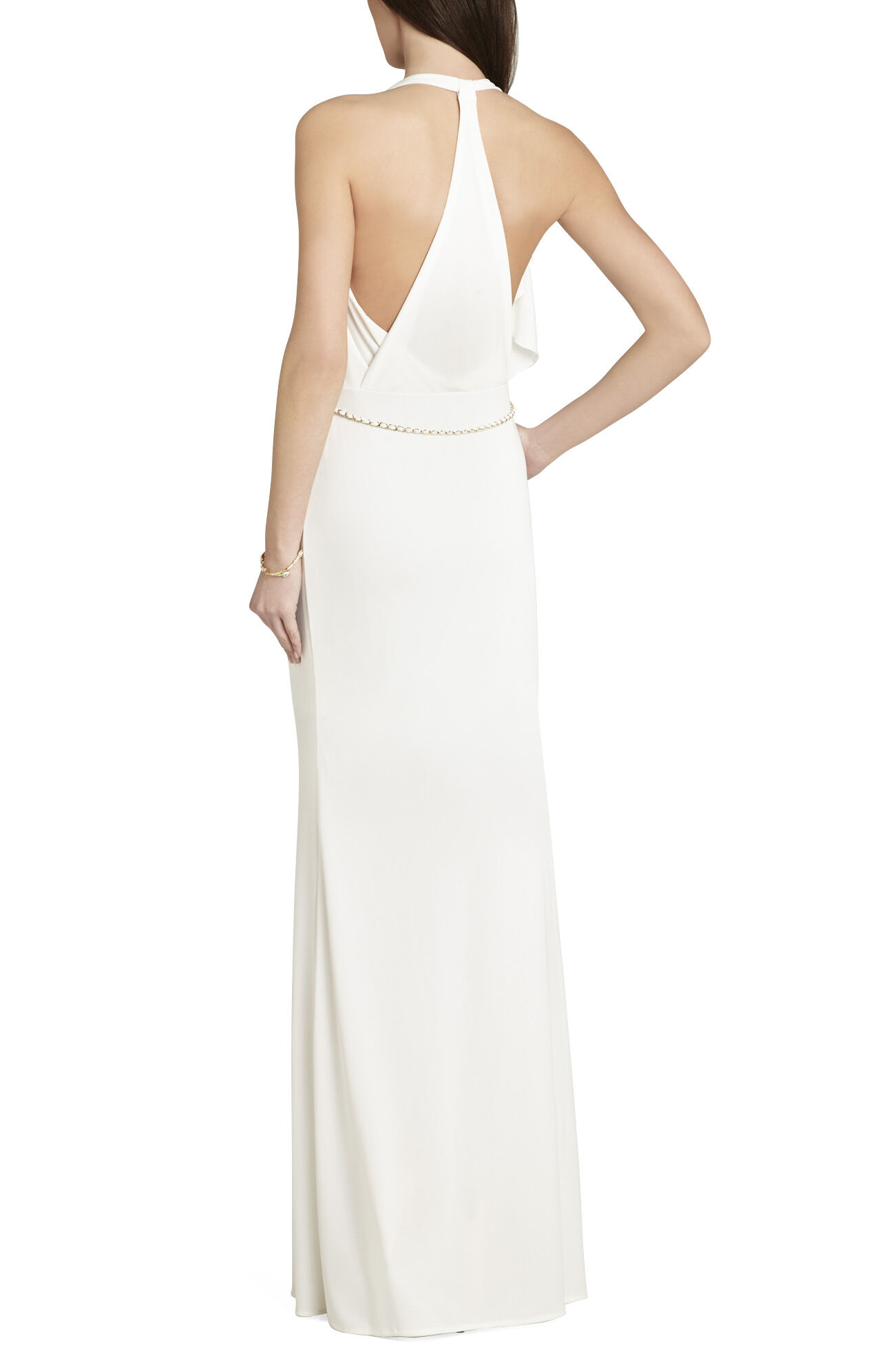 Jasmina Draped-Front Open-Back Gown