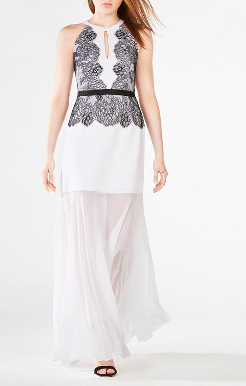 Georgianna Halter Lace-Trim Gown