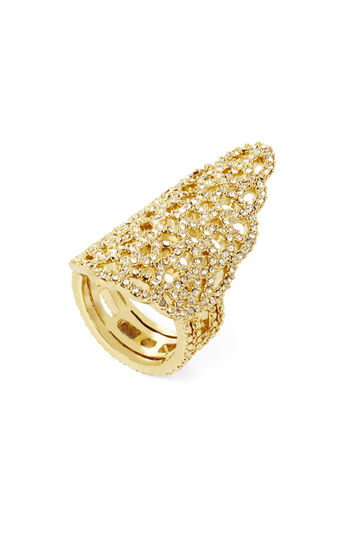 Pave Filigree Pointed Ring