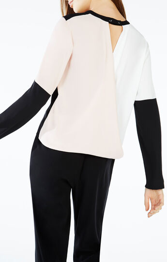 Donella Wrap-Back Color-Blocked Top