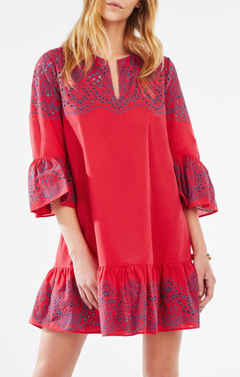 Keera Embroidered Eyelet Peasant Dress