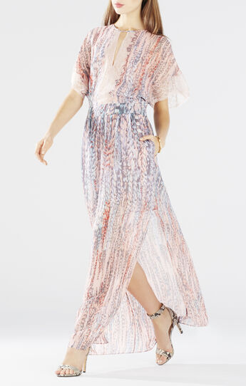 Christelle Printed Bell-Sleeve Gown