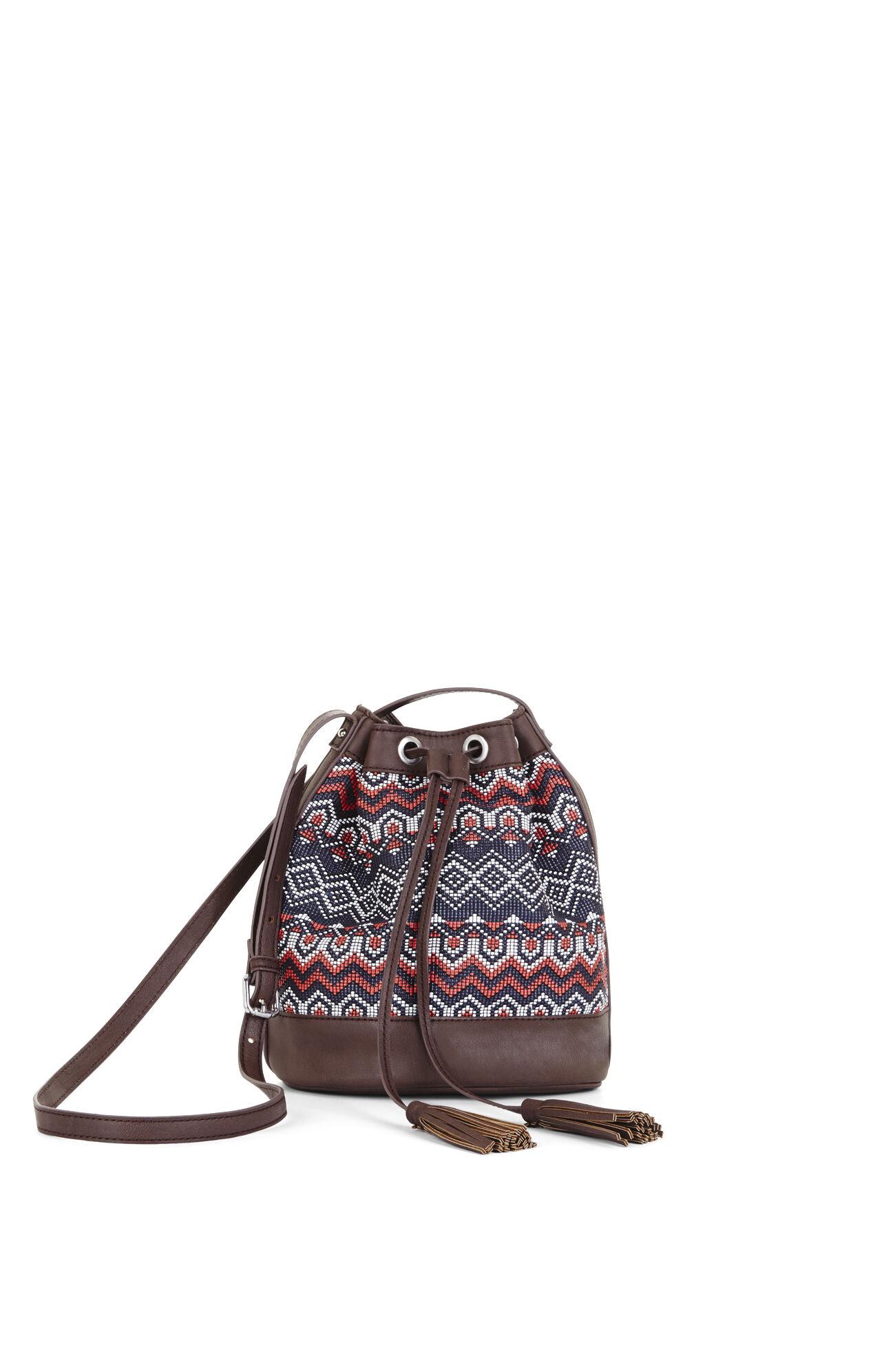 Cora Eastern Woven Border Stripe Mini Bucket Bag