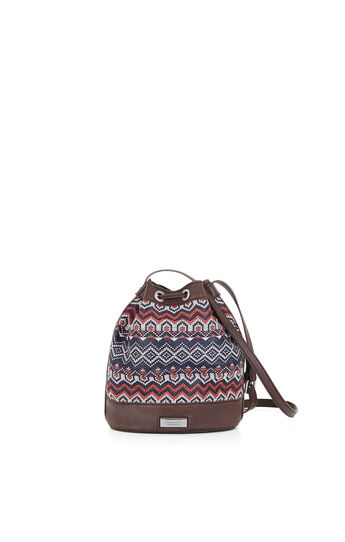 Cora Eastern Woven Border Stripe Mini Bucket Bag