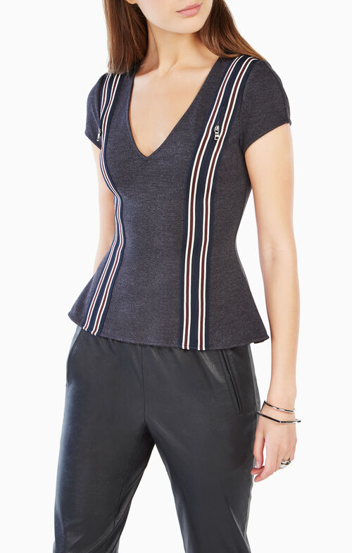 Monica Cutout Striped Top