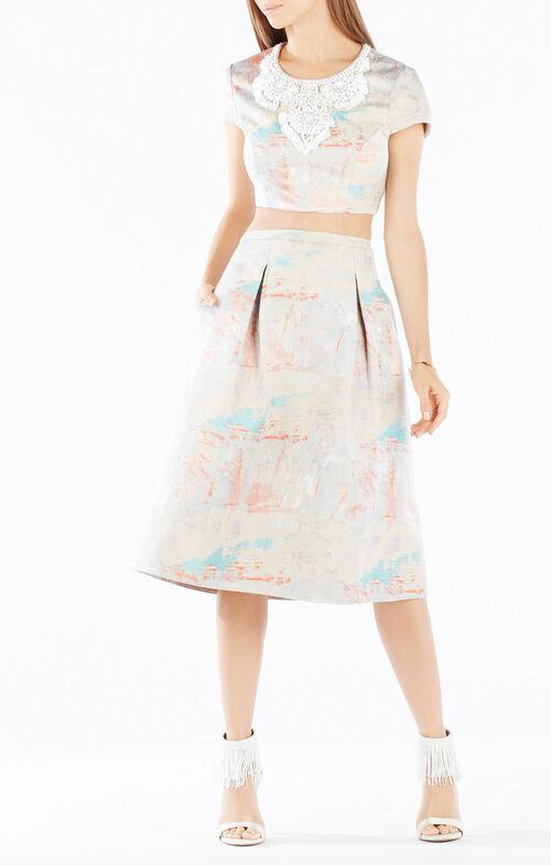 Adna Open-Back Embellished Jacquard Two-Piece Set