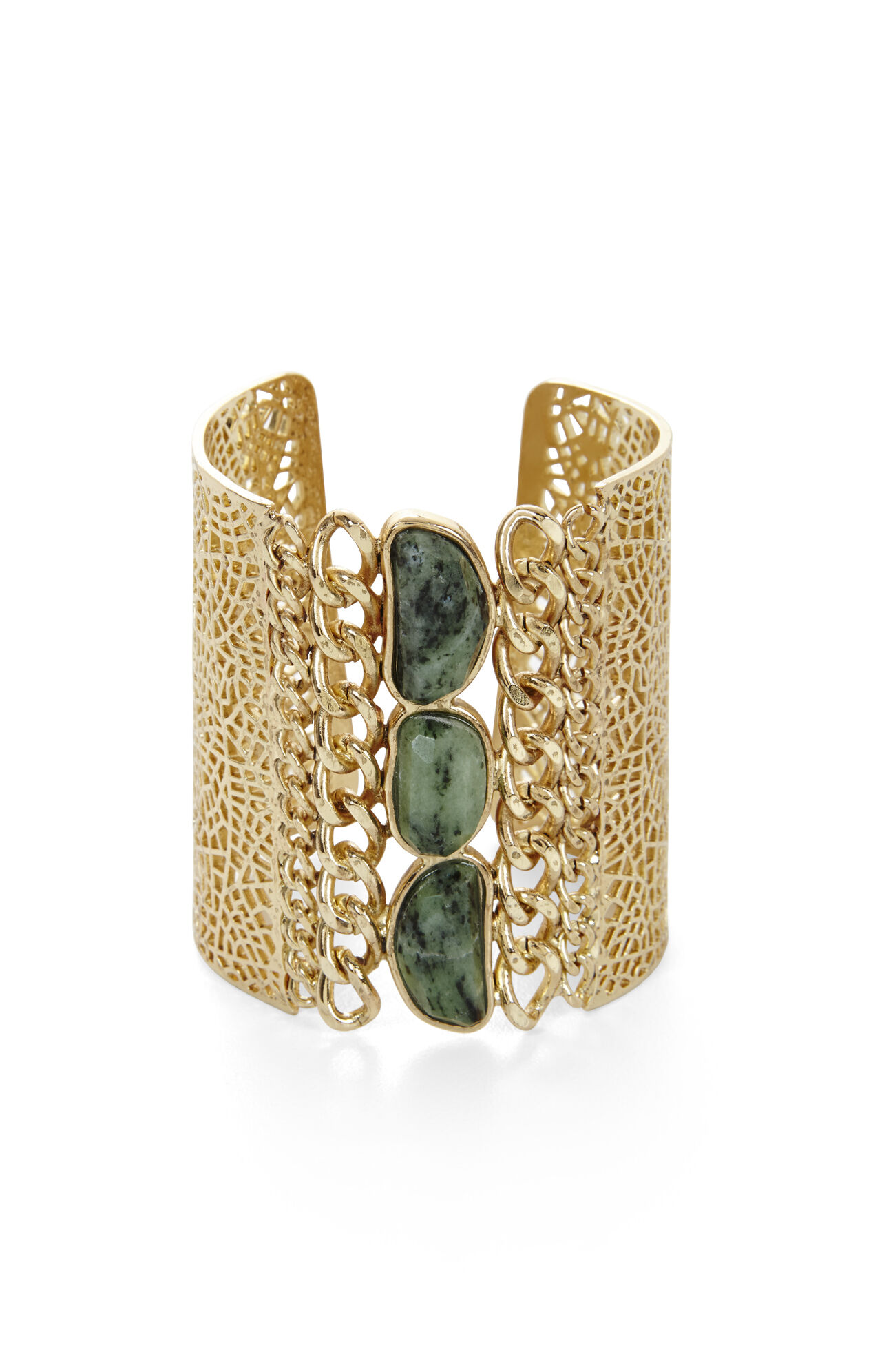 Filigree-Chain Natural-Stone Cuff