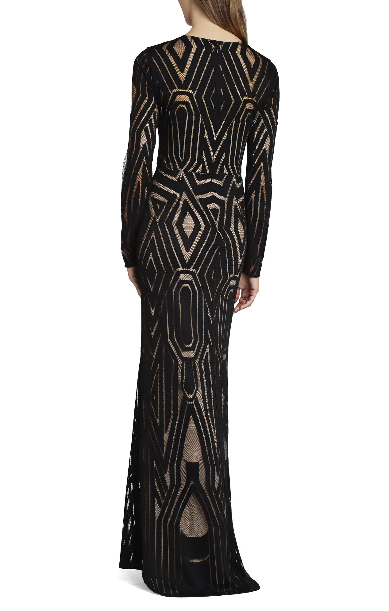 Veira Long-Sleeve Engineered Lace Gown