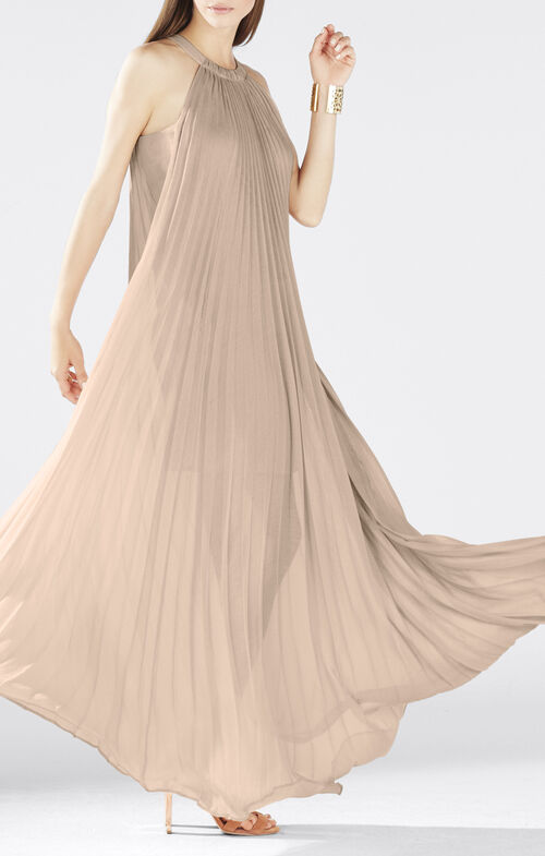 Meghen Halter-Neck Pleated Gown