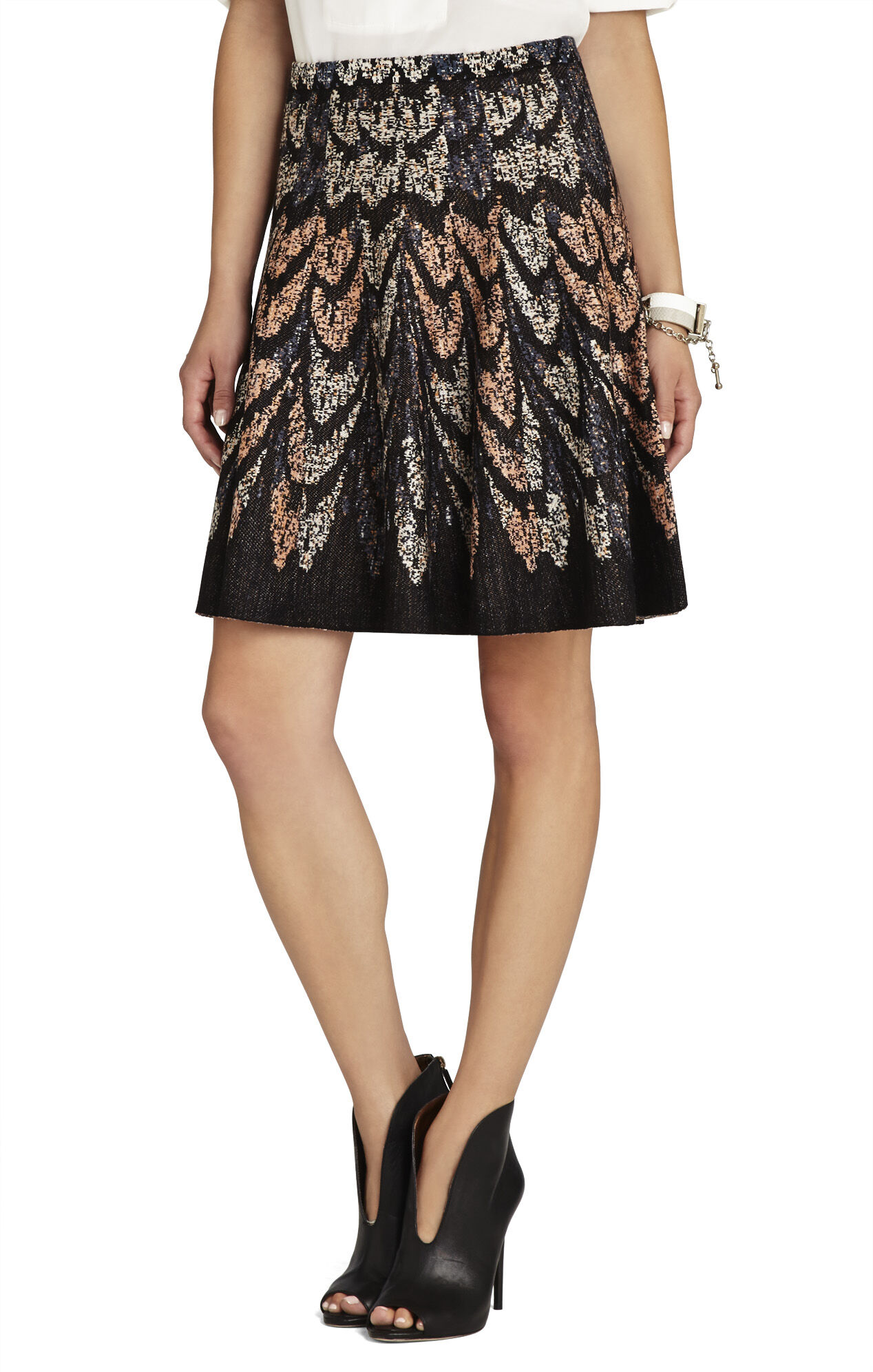 Albie Feather Cascade Jacquard A-Line Skirt