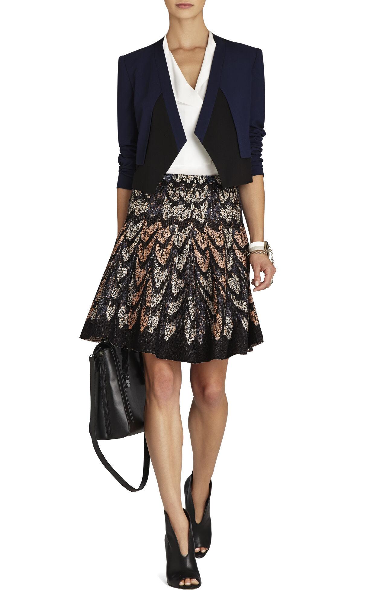 Albie Feather Cascade Jacquard A-Line Skirt