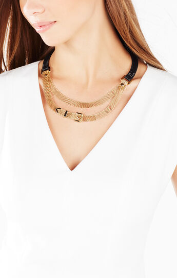 Faux-Leather Mesh Necklace