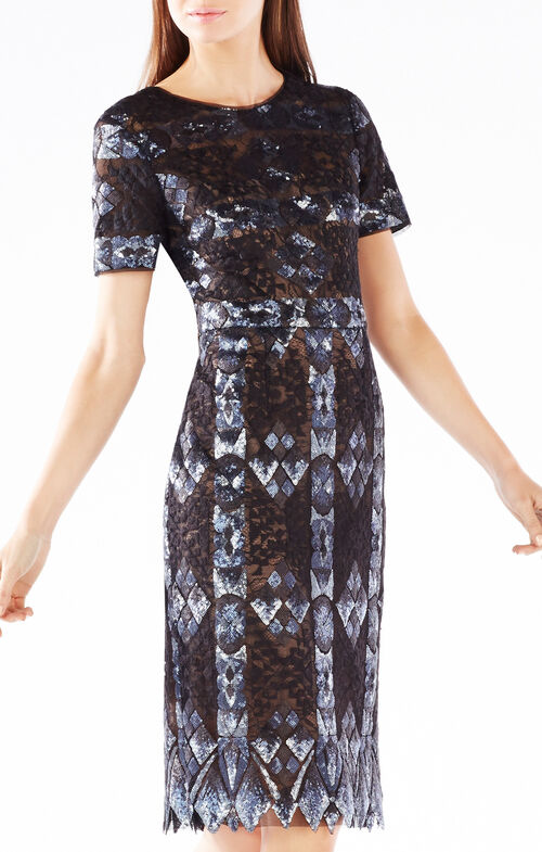 Samara Sequined Diamond Lace Dress