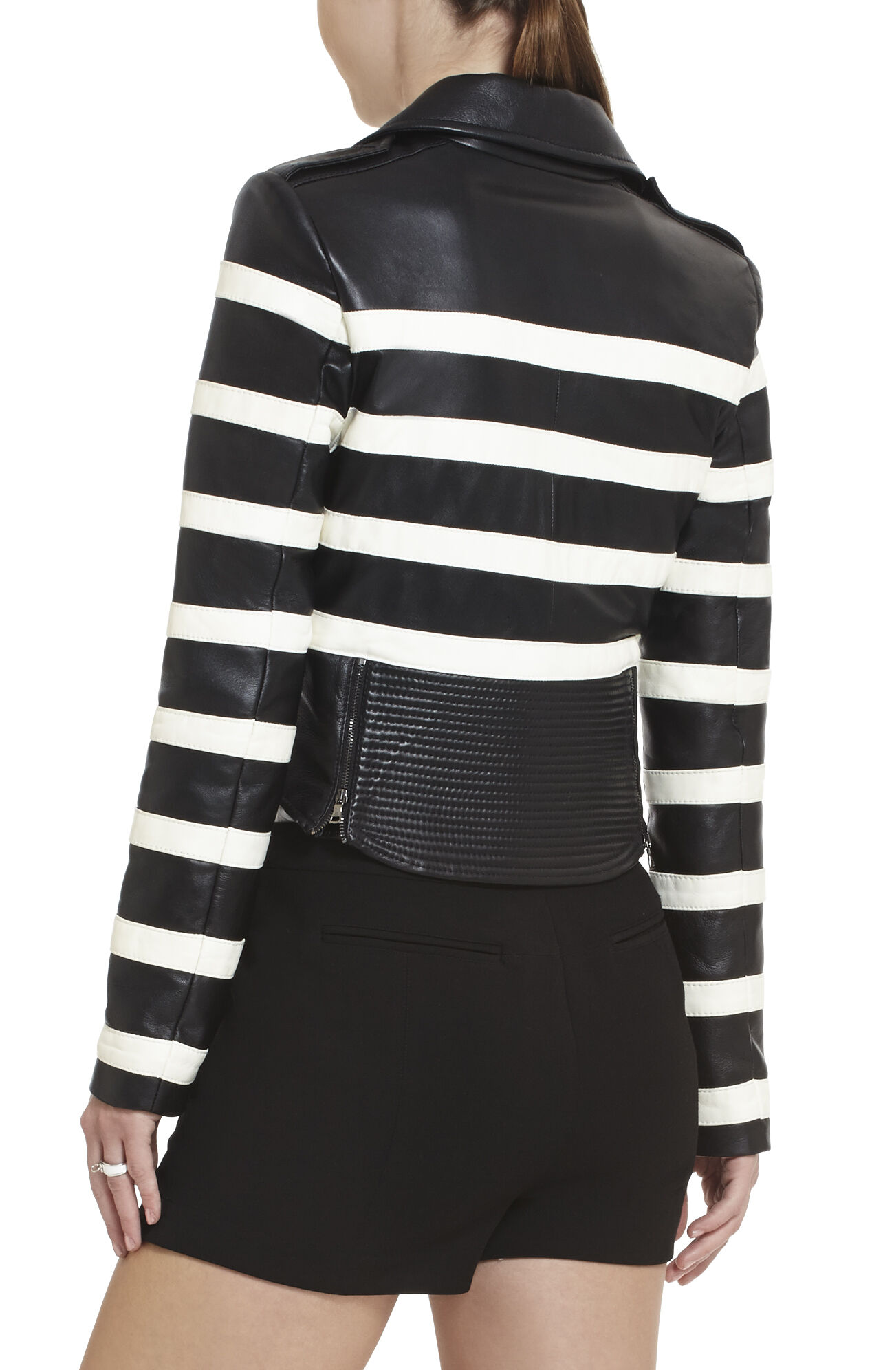 Tess Striped Moto Jacket
