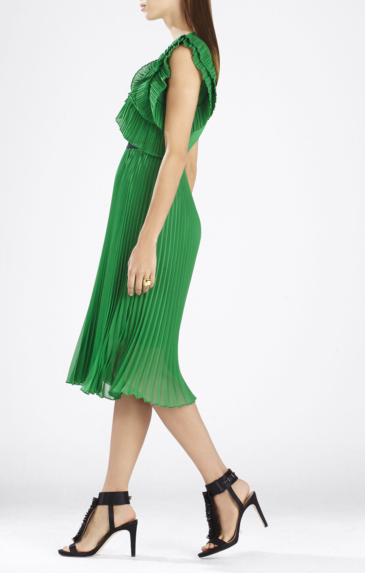 Lanette Sleeveless Pleated Ruffle Dress
