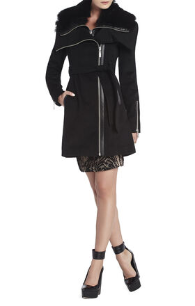Victoria Fur-Collar Wool Coat