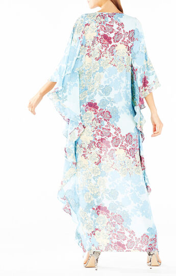 Dameka Floral Print High-Low Kaftan Dress
