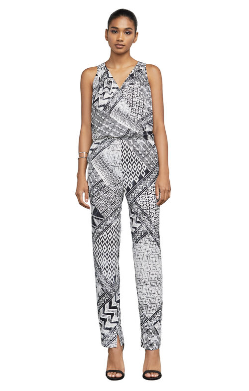 Riyanne Geometric-Print Faux-Wrap Jumpsuit