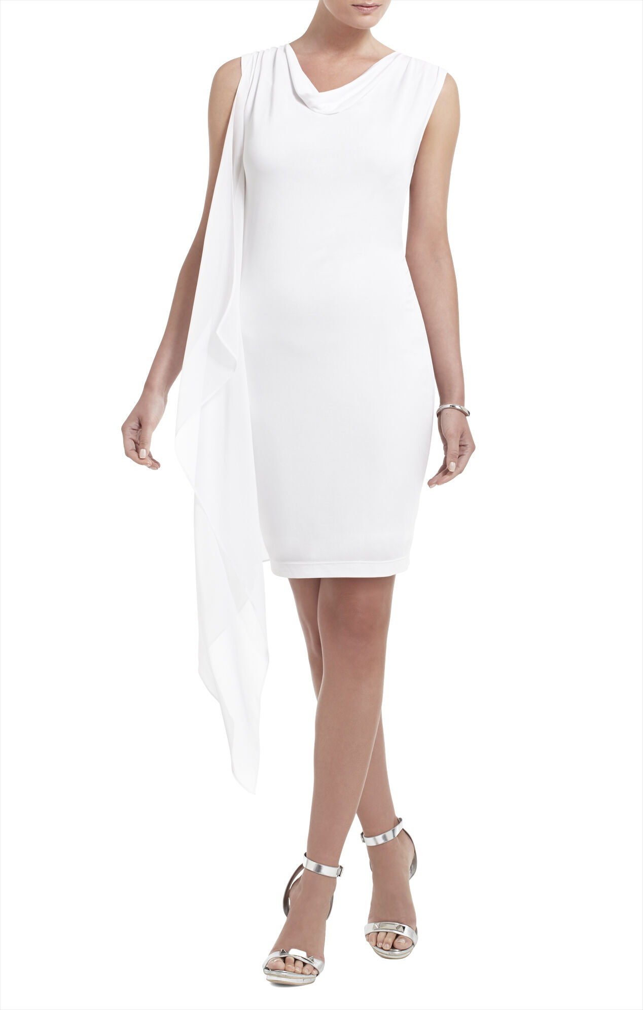 Mallory Sleeveless Cascade-Side Dress