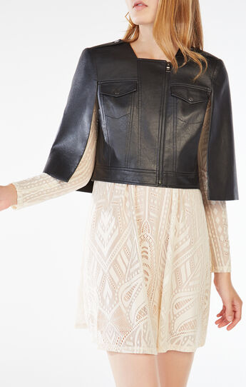 Richie Cropped Faux-Leather Cape