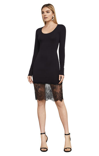 Livi Long-Sleeve Lace-Hem Dress