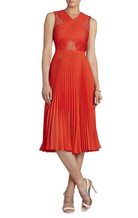 Abbie Sleeveless Pleated Contrast-Lace Dress