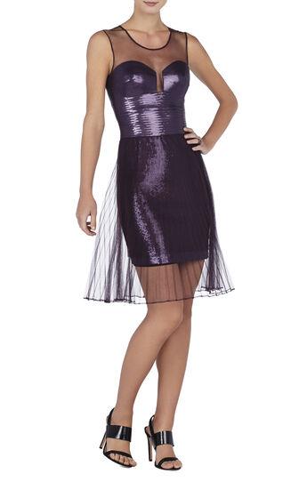Korina Pleated Tulle Overlay Sequined Dress