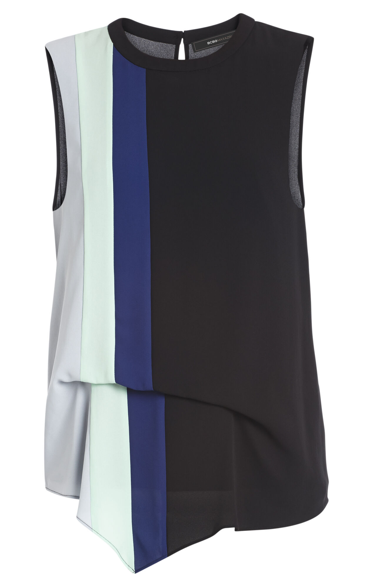 Brea Color-Blocked Draped-Side Top