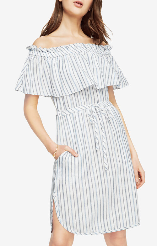 Alexis Striped Off-The-Shoulder Dress