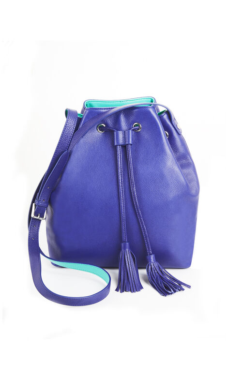 Makenzie Leather Pop Contrast Bucket Bag