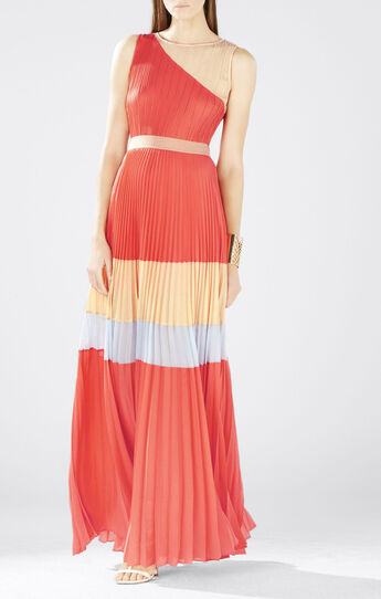 Calie Sleeveless Color-Blocked Pleated Gown