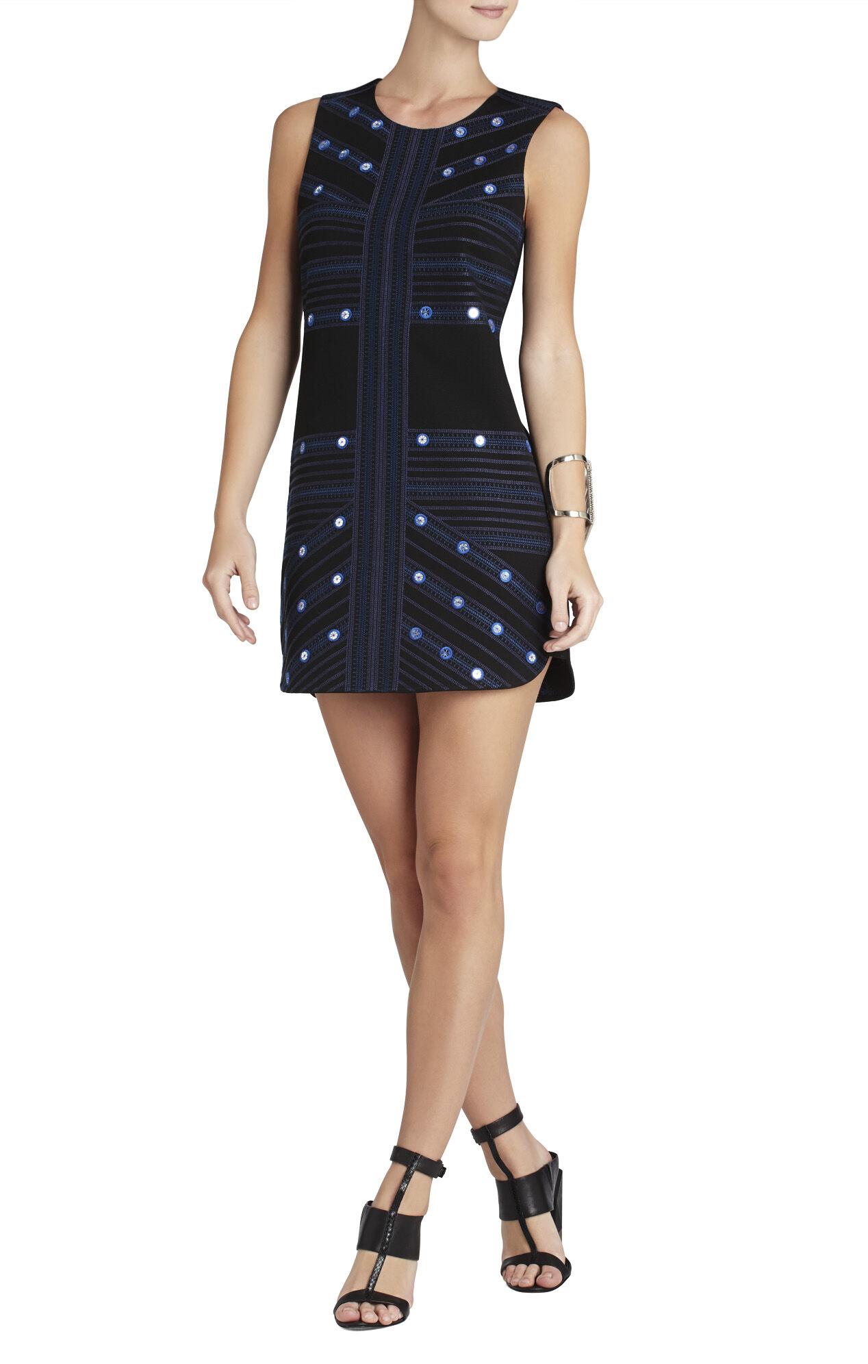 Vivianne Mirror-Embroidered Sleeveless Dress