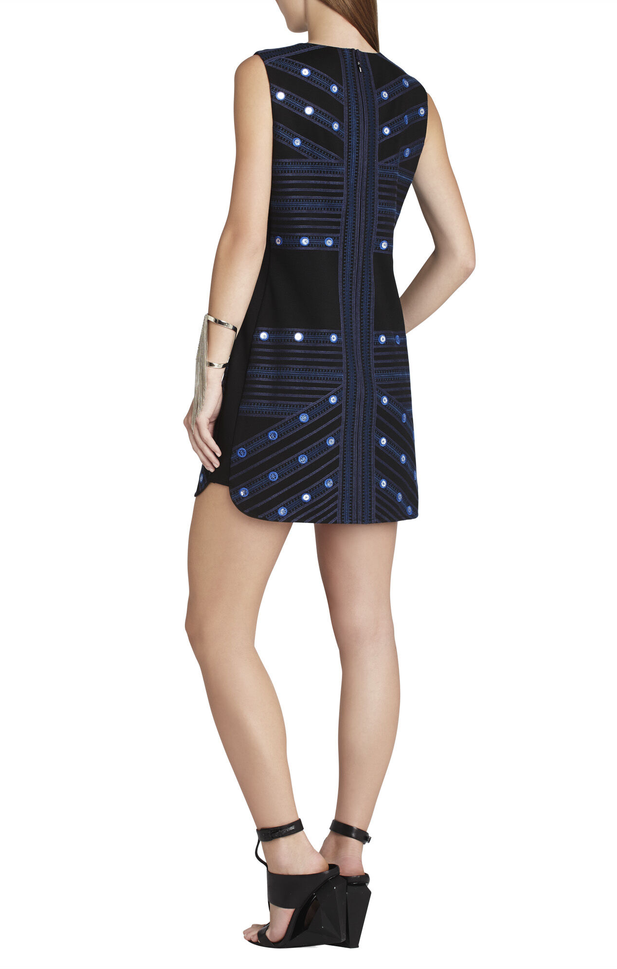 Vivianne Mirror-Embroidered Sleeveless Dress