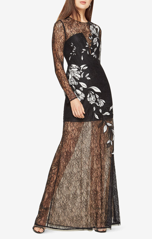 Veira Floral Applique Lace Gown