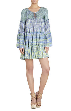 Susie Tiered-Seam Shirred Dress