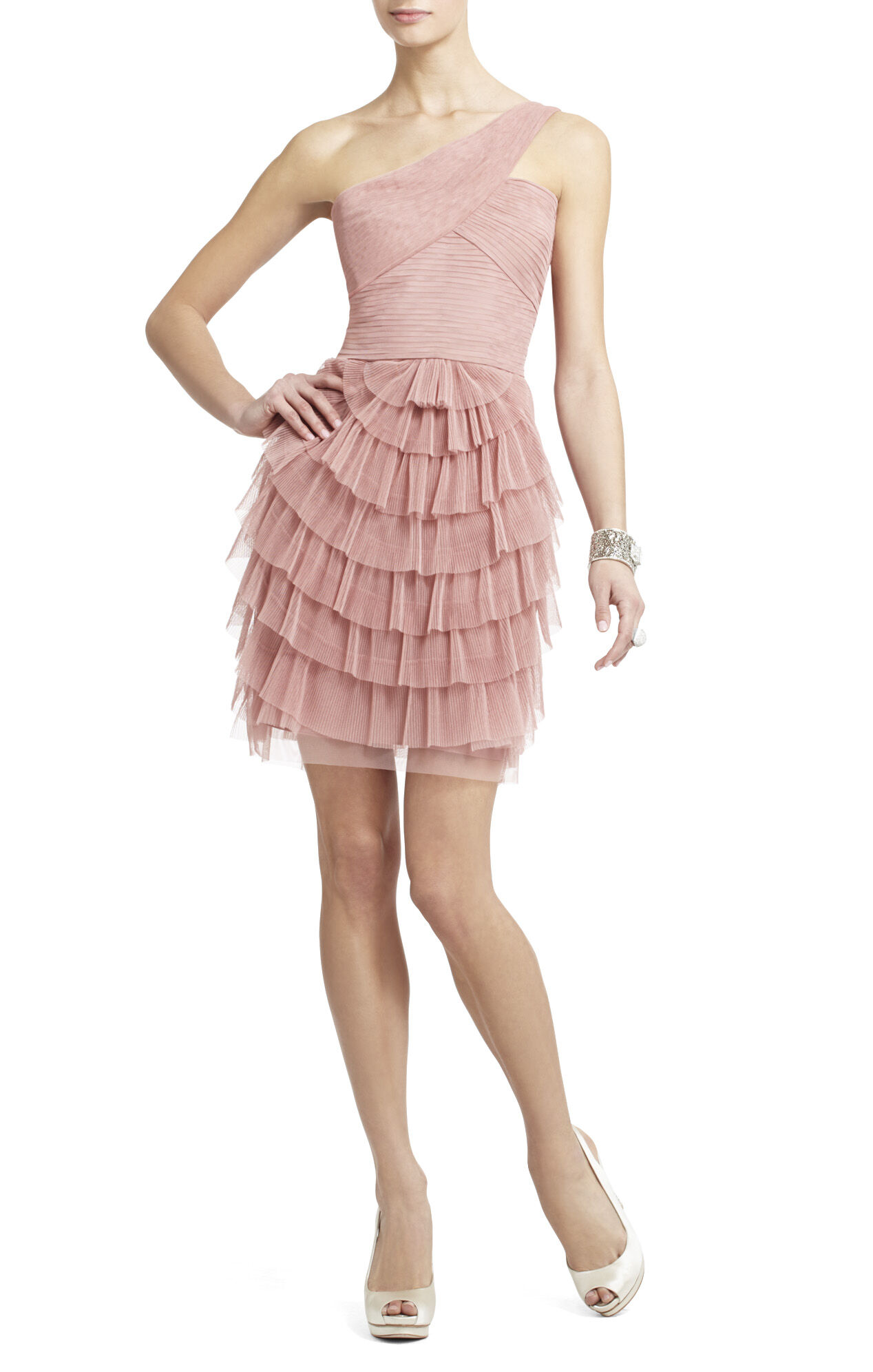 Ella Pleated One-Shoulder Cocktail Dress