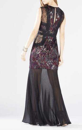 Shawna Floral-Embroidered Sequined Gown