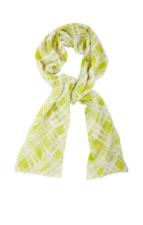 Abstract Plaid-Print Scarf