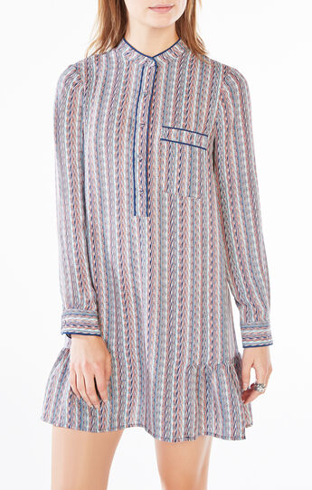 Lucile Striped Chevron Dress