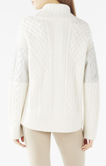 Mekiya Turtleneck Metallic Foil Cable-Knit Sweater