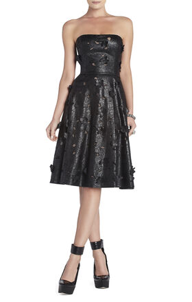 Emeline Strapless Faux-Leather Dress