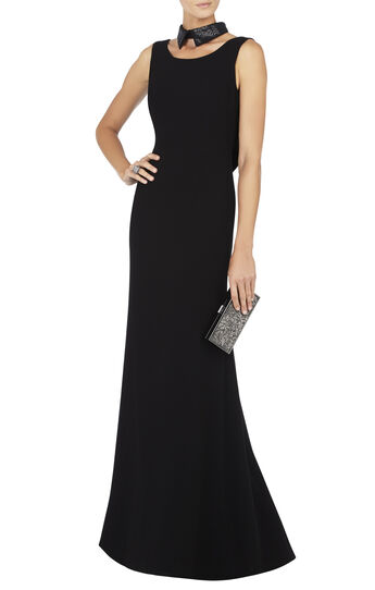 Haiden Sleeveless Sequin-Collar Gown